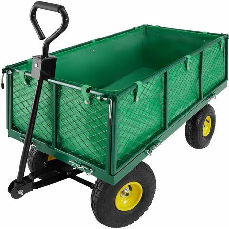 Carrito de transporte con funda interior máx. 550kg - carretilla de mano para jardín, carro con mango para transporte manual, carretilla de transporte de metal - verde