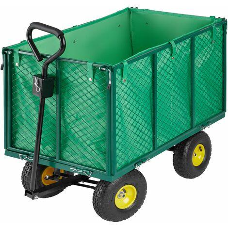 Carrito de transporte máx. 544 kg - carretilla de mano para jardín, carro con mango para transporte manual, carretilla de transporte de metal - verde