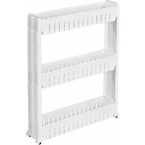 Carrito-estantería Joe 3 baldas - estantes para cuarto de baño, estantería con ruedas para utensilios de cocina, carrito con estantes para trastero - blanco