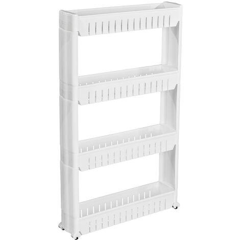 Carrito-estantería Joe 4 baldas - estantes para cuarto de baño, estantería con ruedas para utensilios de cocina, carrito con estantes para trastero - blanco