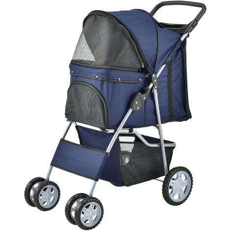 Carrito para mascotas - Pet Stroller - Hundebuggy - impermeable - para empujar - Roadster con cesta para guardar objetos - Azul