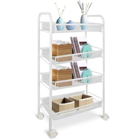Carritos de Almacenamiento, Organizador de Hogar, 4 tier, 83,5 x 46 x 27 cm, Blanco, Material: Hierro