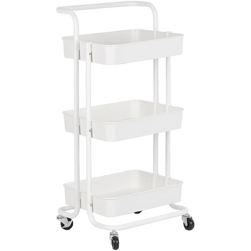 Carritos de cocina con carrito de servicio con ruedas y 3 estantes blancos - JEOBEST