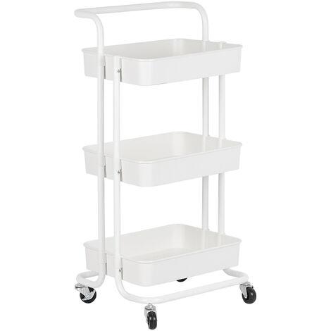 Carritos de cocina con carrito de servicio con ruedas y 3 estantes blancos