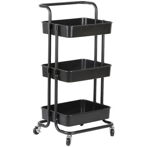 Carritos de cocina con carrito de servicio con ruedas y 3 estantes negros