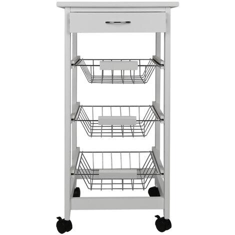 Carro de cocina: canasta de frutas de madera multiusos en canasta de acero, gabinete de cocina que ahorra espacio 75x37x37cm