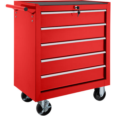 Carro de herramientas con 5 cajones - carro porta herramientas de acero, carro con cajones grandes para utensilios, carreta de taller con ruedas y frenos