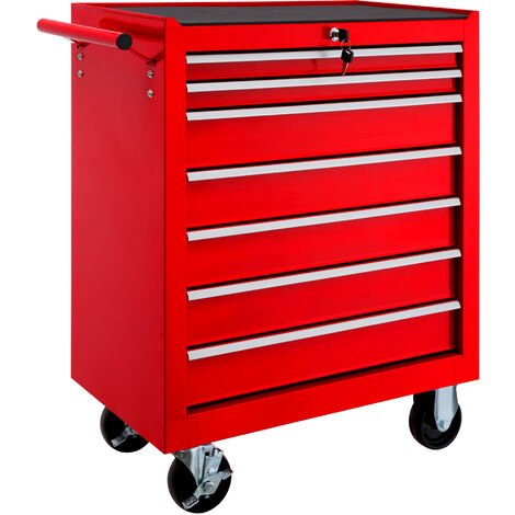 Carro de herramientas con 7 cajones - carro porta herramientas de acero, carro con cajones grandes para utensilios, carreta de taller con ruedas y frenos