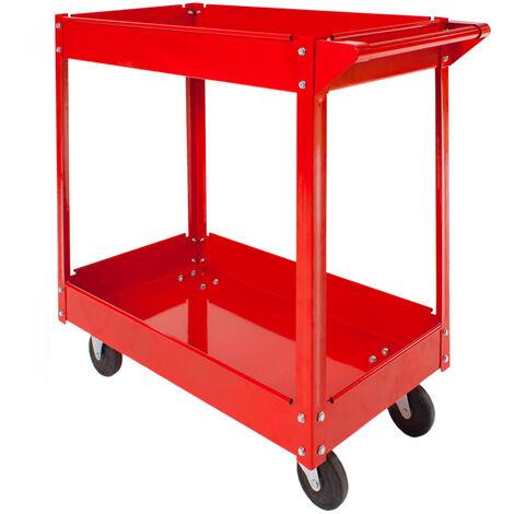 Carro de herramientas con ruedas y 2 estantes - carro porta herramientas de acero, carro con cajones grandes para utensilios, carreta de taller con ruedas y asa - rojo
