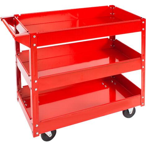 Carro de herramientas con ruedas y tres estantes - carro porta herramientas de acero, carro con cajones grandes para utensilios, carreta de taller con ruedas y asa - rojo