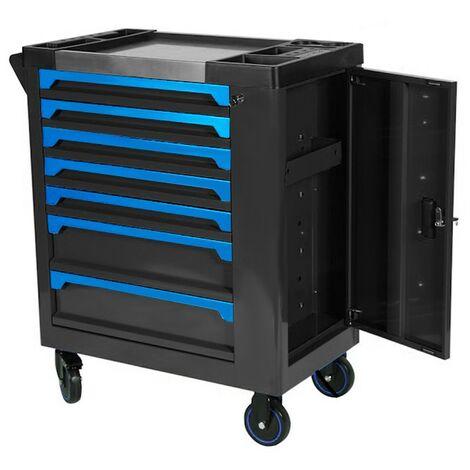 Carro de herramientas de 7 cajones profesional, negro y naranja