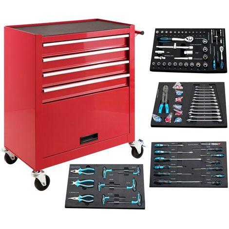 Carro de herramientas lleno, 4 cajones con 4 herramientas mas cajon inferior, rojo