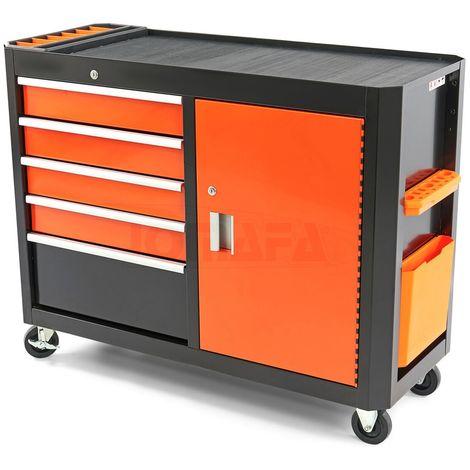 Carro de herramientas para taller doble con 5 cajones y puerta, negro y naranja