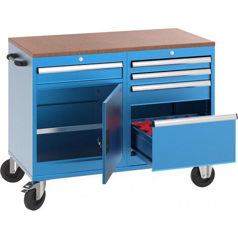 Carro de herramientas profesional con 1 armario, 4 cajones, 1 cajón con por