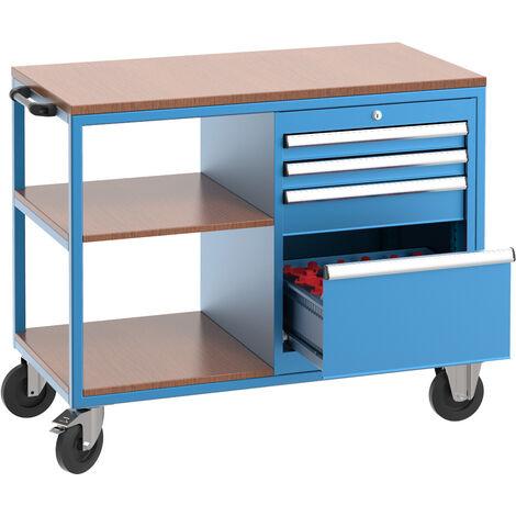 Carro de herramientas profesional con 2 estantes fijos, 3 cajones, 1 cajón