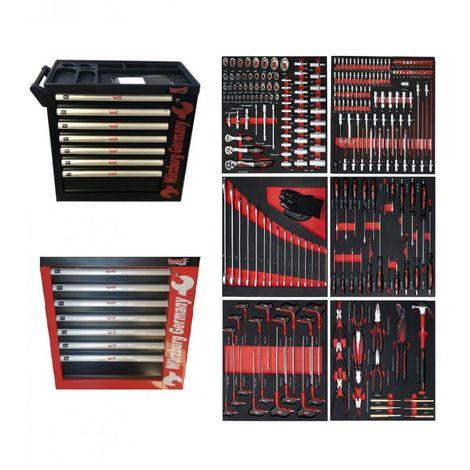 CARRO DE HERRAMIENTAS WURZBURG PROFESIONAL CON 7 DEPARTAMENTOS 345 PIEZAS (Rojo/negro)