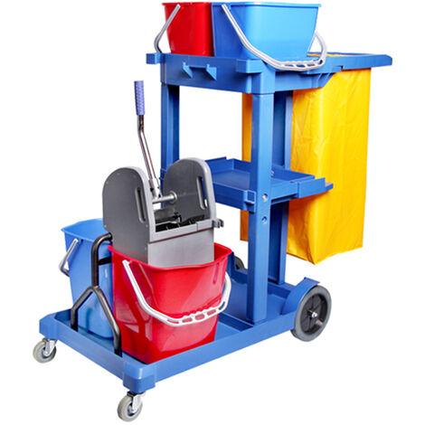 Carro de limpieza Zafir con cubo doble azul