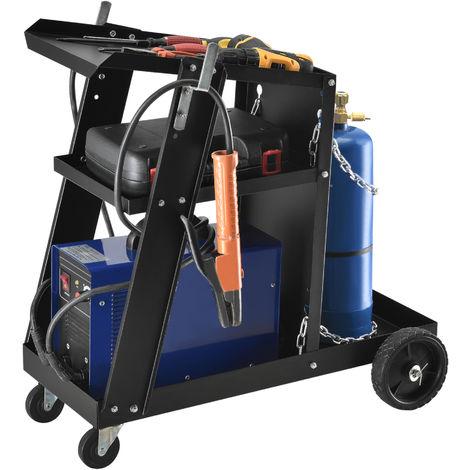 Carro de soldadura - 70,4 x 39 x 72,5 cm - Organizador de taller - 3 Estantes - Almacenamiento - Carrito de Herramientas con 3 Niveles - Negro