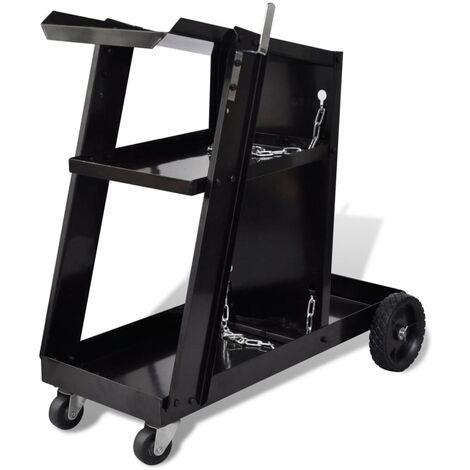 Carro de soldadura negro con 3 estantes organizador de taller