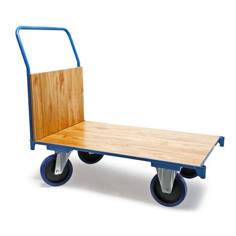 Carro de transporte 100x60cm 600kg Plataforma de carga Frenos y manillar Almacén Oficina Paquetería