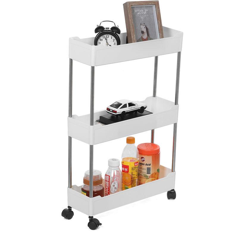 Carro delgado de 3 capas con ruedas, estante de almacenamiento, soporte deslizante para cocina, baño, estante