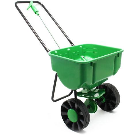 Carro esparcidor de 25 kg con neumáticos de plástico para abono de semillas de sal para carreteras