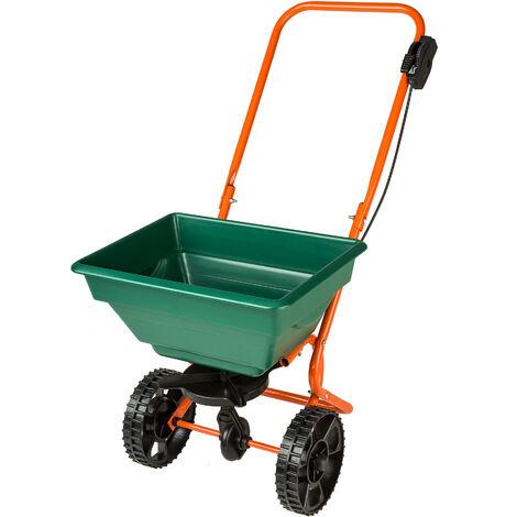 Carro esparcidor - sembradora metálica con contenedor, carro de jardín para esparcir fertilizantes, carrito de jardín para distribuir semillas - verde