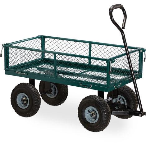 Carro Jardín hasta 150 kg, Acero-Goma, Verde, 53,5 x 50 x 109 cm