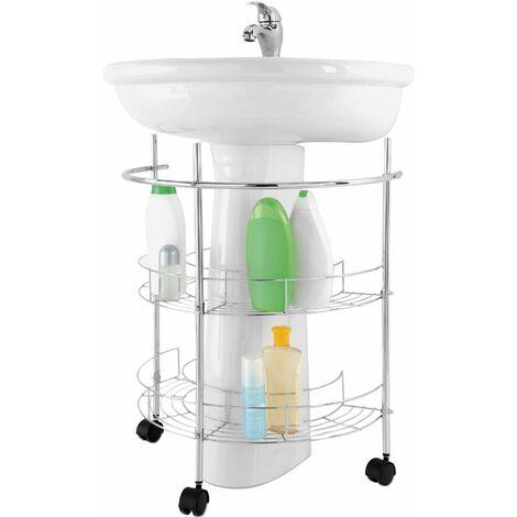 Carro lavabo 2 baldas en acero cromado Feridras 151015-B   Cromo
