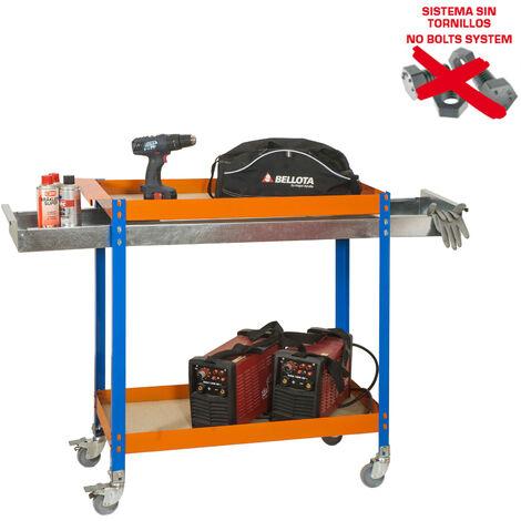 CARRO METALICO WAGON 2/400 BOX CHIPBOARD AZU/NAR/MA 1030x900x400mm
