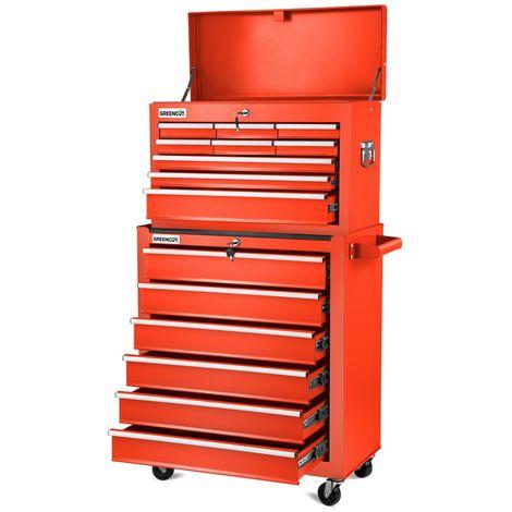 Carro para herramientas PRO armario acero 4 ruedas 16 cajones -GREENCUT
