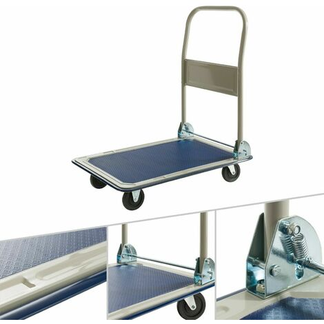 Carro plataforma camión de transporte manual carretilla mano plegable max 150 kg - Azul