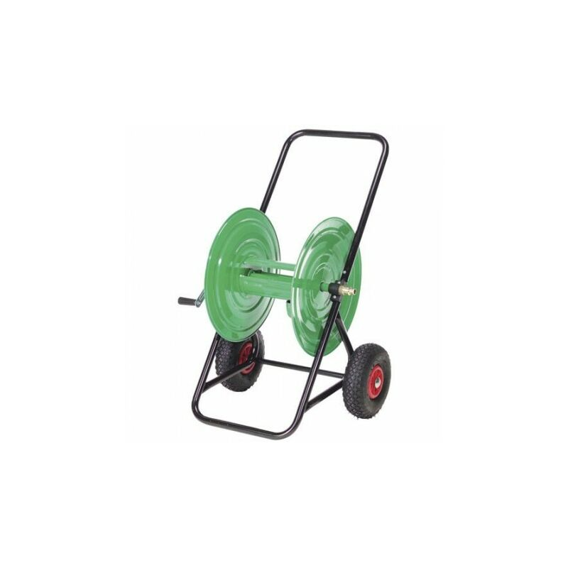Carro portamangueras acero 100 metros rueda neumática