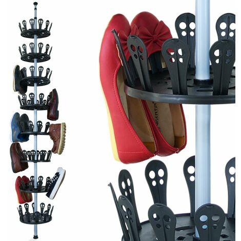 Carrousel à chaussures XXL 96 chaussures Meuble de rangement chaussures avec tige télescopique 48 paires