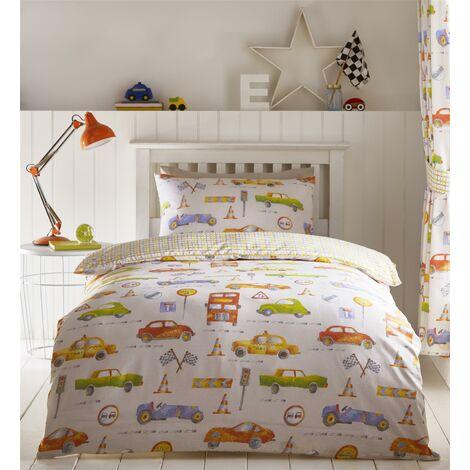Cars Transport Double Duvet Cover Set Reversible Bedding Childrens Boys Bedroom