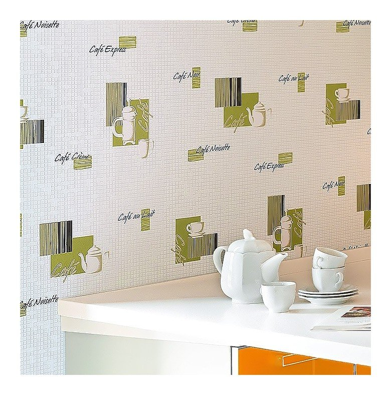Carta da parati caffé piastrelle mosaico EDEM 062-21 per cucina e bagno  lavabile bianco crema giallo nero argento