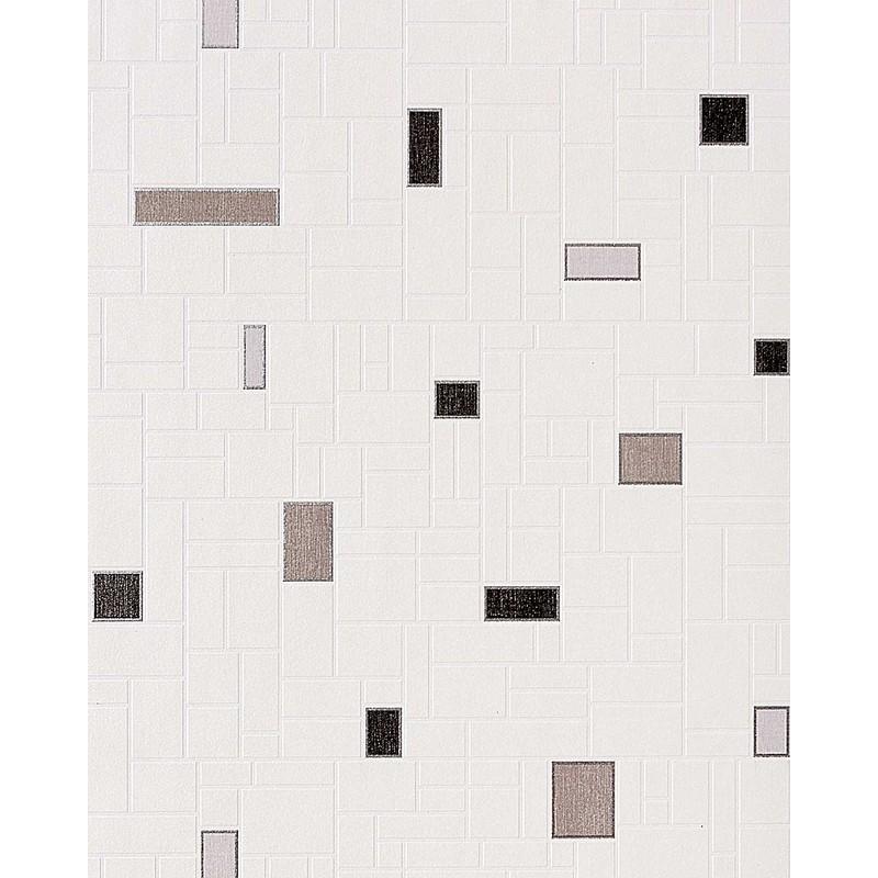 Carta da parati con effetto tiles e mosaico EDEM 584-20 di piastrelle per  cucina e bagno lavabile in bianco nero grigio