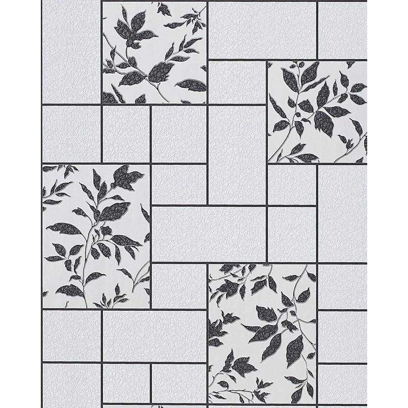 Carta da parati per cucina EDEM 146-20 e bagno lavabile a piastrelle con  fiori in grigio chiaro e bianco