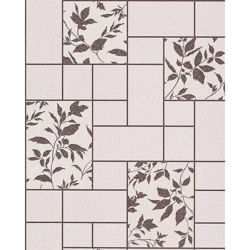 Carta da parati per cucina EDEM 146-23 e bagno lavabile a piastrelle con  fiori in crema marrone