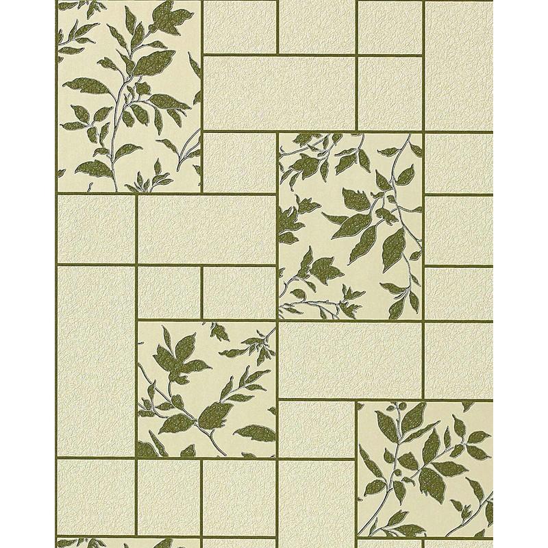 Carta da parati per cucina EDEM 146-25 e bagno lavabile a piastrelle con  fiori in verde beige verde oliva