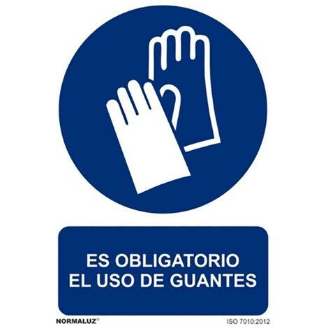 Cartel Señalizacion 210X300Mm Pvc Obliga Uso Guantes Normaluz