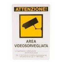 CARTELLO AREA VIDEOSORVEGLIATA 20X 30 PLASTICA