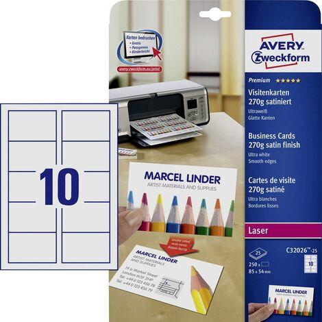 Cartes De Visite Imprimables Bords Lisses Avery Zweckform C32026 25 85 X 54 Mm Ultra Blanc