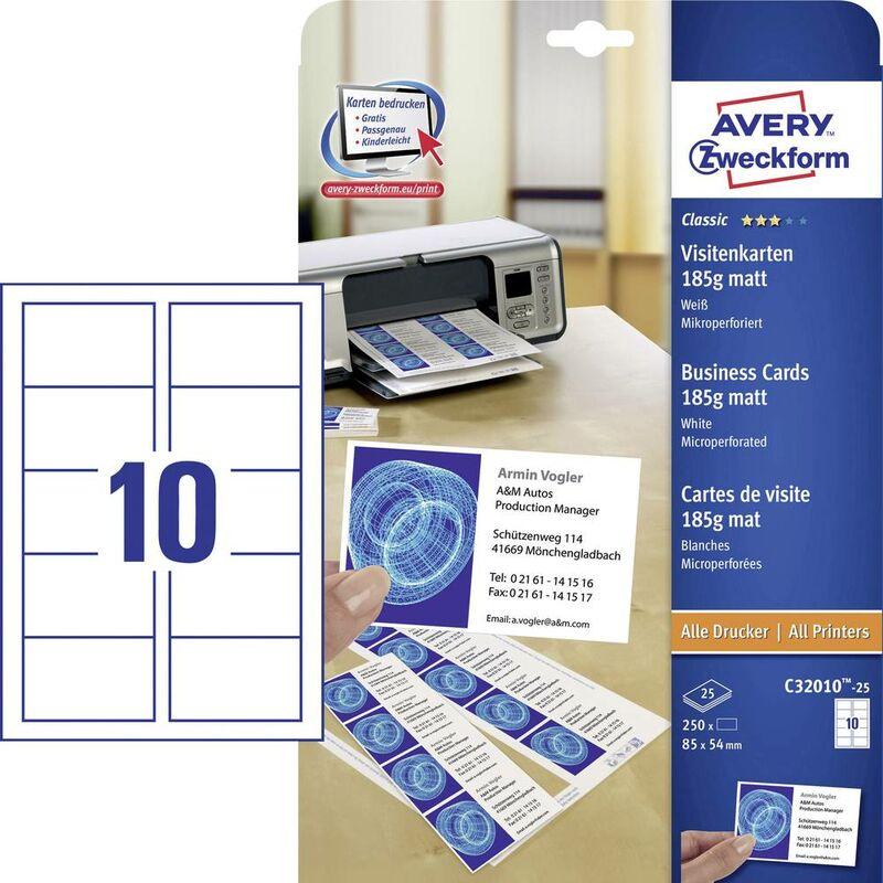 Cartes De Visite Imprimables Microperforees Avery Zweckform C32010 25 85 X 54 Mm Blanc 250 Pcs
