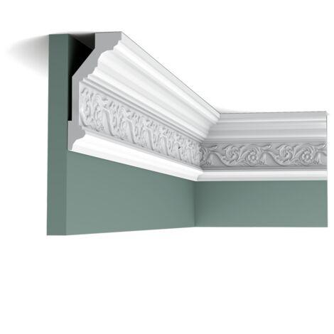 Carton complet de 20 mètres C303 Corniche plafond Orac Decor - 14x6,5x200cm (h x p x L) - moulure décorative polyuréthane - rigide ou flexible : rigide - conditionnement : Carton complet