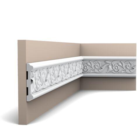 Carton complet de 20 mètres P7020 Cimaise murale Orac Decor - 11x2x200cm (h x p x L) - moulure décorative polyuréthane - rigide ou flexible : rigide - conditionnement : Carton complet
