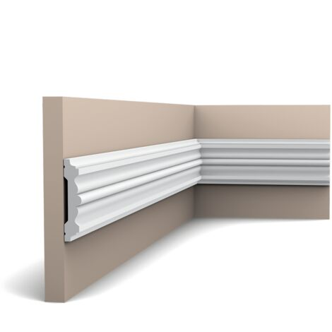 Carton complet de 20 mètres P9020 Cimaise murale Orac Decor - 9,5x2x200cm (h x p x L) - moulure décorative polyuréthane - rigide ou flexible : rigide - conditionnement : Carton complet
