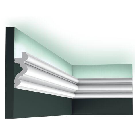 Carton complet de 32 mètres C324 AUTOIRE corniche pour éclairage indirect Orac Decor - 8,3x3,4x200cm (h x p x L) - moulure décorative polyuréthane - Conditionnement : Carton complet