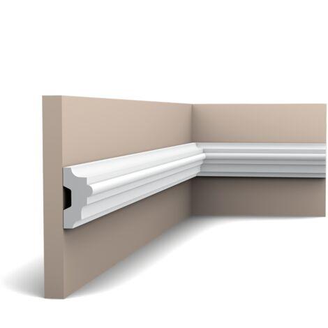Carton complet de 40 mètres P9040 Cimaise murale Orac Decor - 5x2,5x200 (h x p x L) - moulure décorative polyuréthane - rigide ou flexible : rigide - conditionnement : Carton complet
