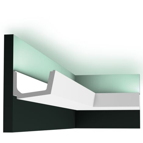 Carton de 16 mètres C357 Corniche plafond pour éclairage indirect Orac Decor - 7,5x11x200cm (h x p x L) - moulure décorative polyuréthane - Conditionnement : Carton complet
